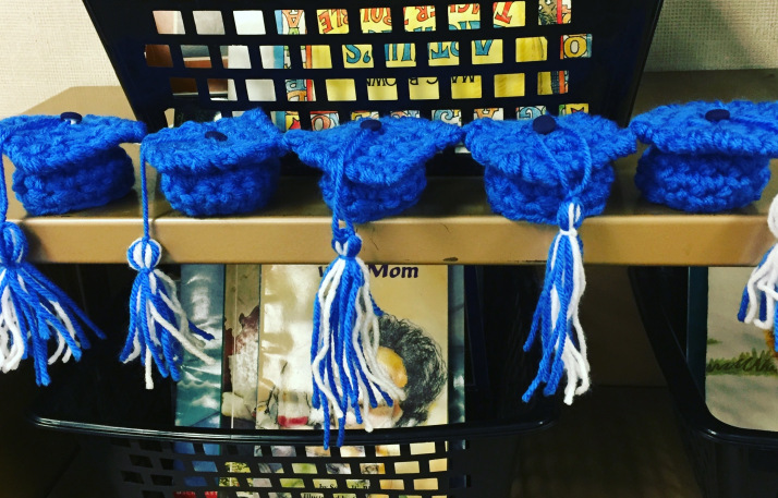 Blue graduation caps