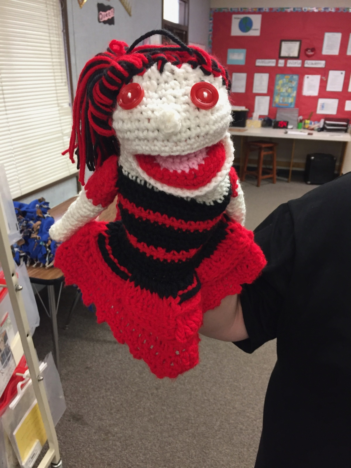 Red and Black Crochet Puppet